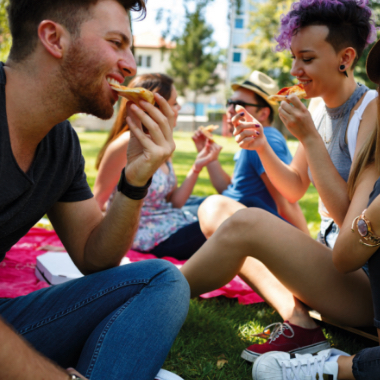 people on grass eating pizza